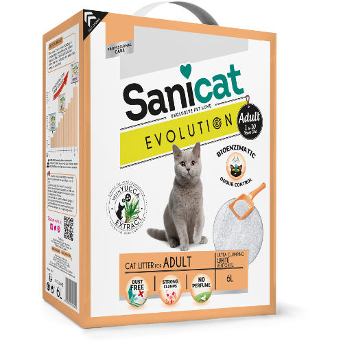 Sanicat Evolution Adult arena aglomerante con yuca para gatos adultos