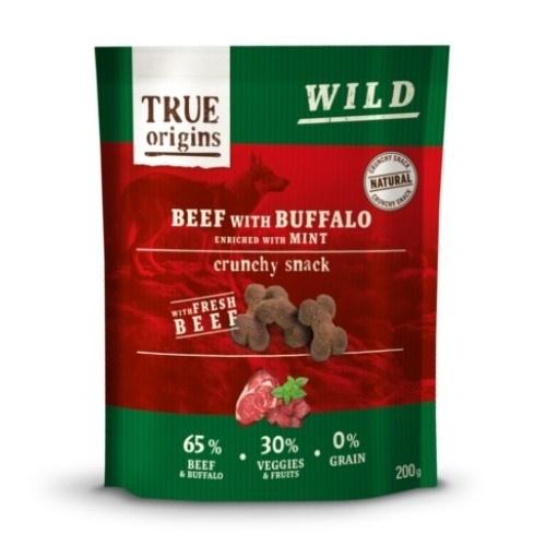 Snacks para perros True Origins ternera, búfalo y menta