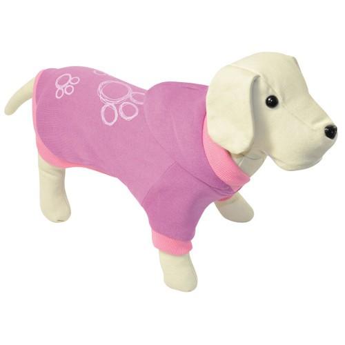 Sudadera con capucha para perros rosa con huellas