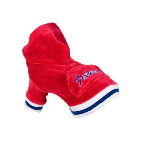 Sudadera con capucha de terciopelo roja Fabulous