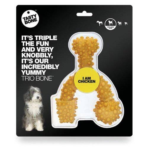 Mordedor para perros grandes TastyBone TrioBone Nylon hueso triple sabor Pollo