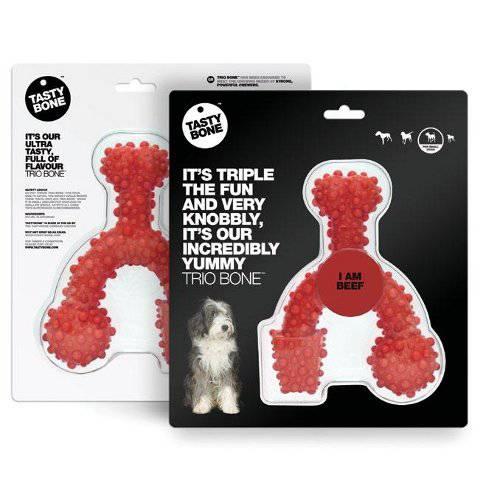 Mordedor para perros medianos TastyBone TrioBone Nylon hueso triple sabor Ternera