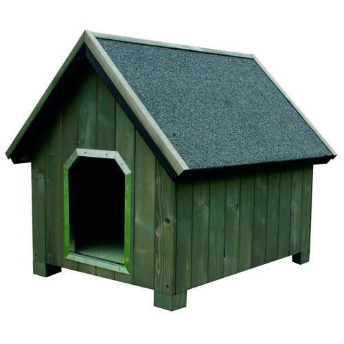 Caseta de madera para perros alpine gris tiendanimal for Casetas para perros aki