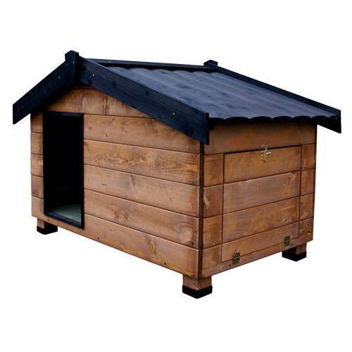 Caseta de madera con porche para perros mountain madera for Casetas para perros aki