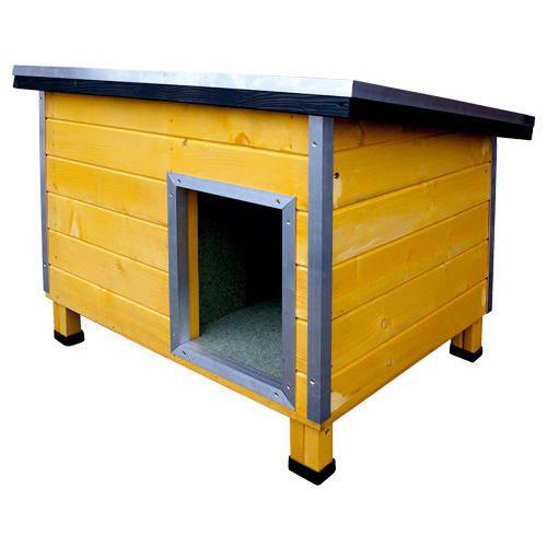 Caseta robusta de madera para perros nevada amarilla - Caseta perro madera ...