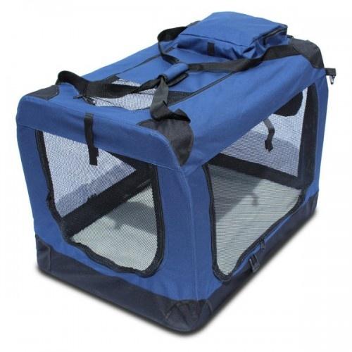 Trasportín plegable Yatek con entradas laterales y superiores para mascotas color Azul