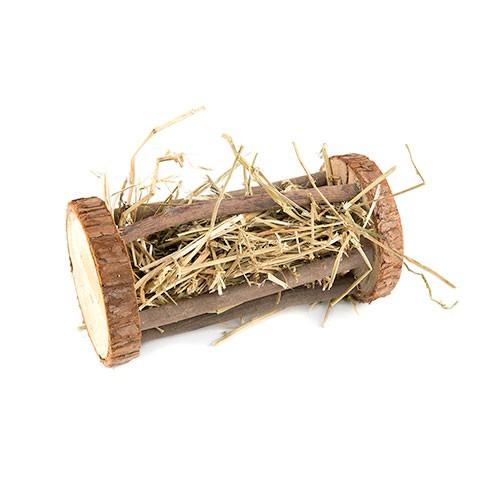 Tronco portaalfalfa de madera para roedores