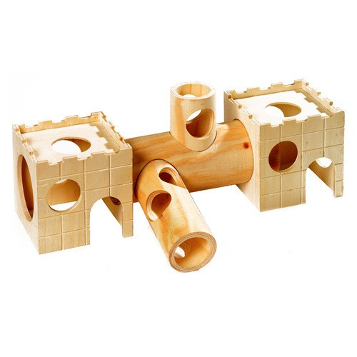 Tunel de madera para hamster