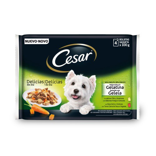 Alimento húmedo para perros Cesar Pouch Multipack en gelatina