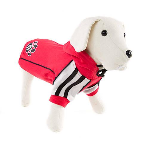 Sudadera con capucha para perros Sport roja con huella