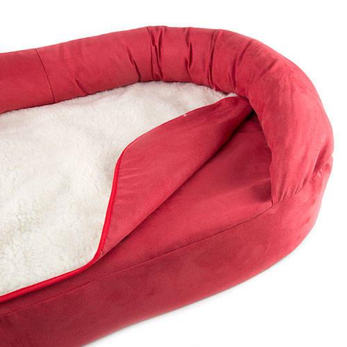 Cama ortopédica para perros TK-Pet ovalada color burdeos