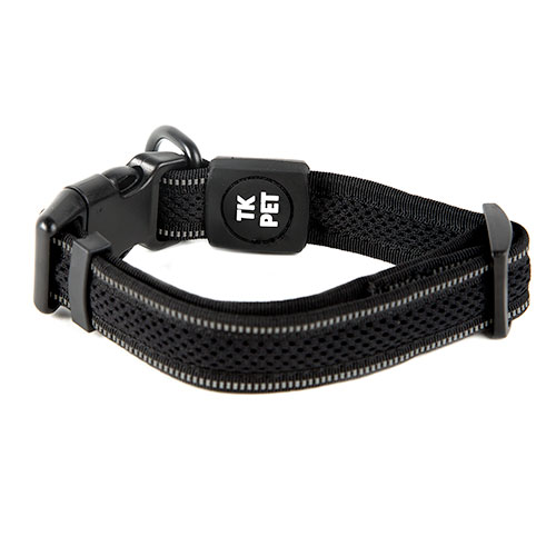 TK-Pet Reflective Comfort Black necklace for dogs with reflective seam