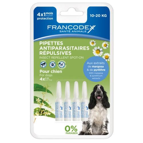 Natural antiparasitic dog pipettes Francodex