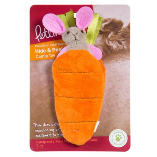 Zanahoria de peluche rellenable de catnip para gatos