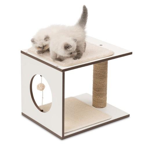 Mueble rascador para gatos V-Stool Vesper blanco