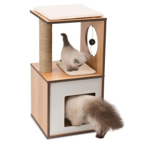 Mueble rascador pequeño para gatos V-Box Vesper nogal