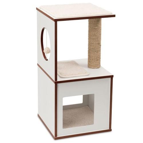 Mueble rascador pequeño para gatos V-Box Vesper blanco