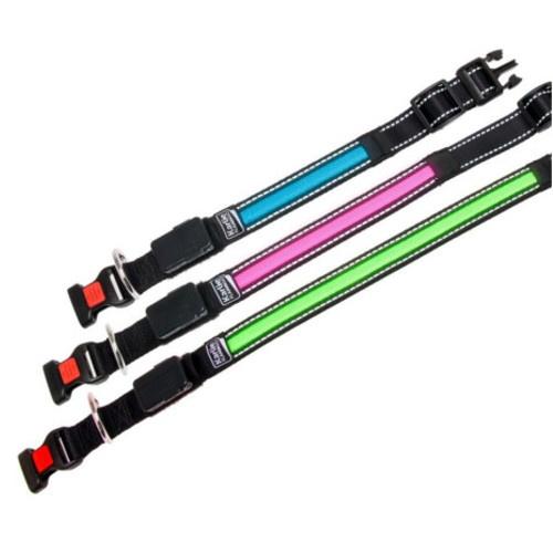 Collar con banda LED rosa con cargador USB