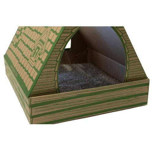 Arenero de cartón desechable Pipikat con arena