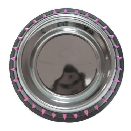 Comedero metálico TK-Pet de diseño Rock rosa