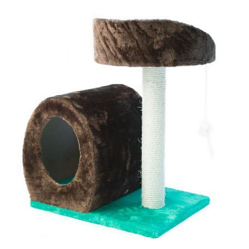 Rascador con cueva y ratón colgante para gatos TK-Pet Cetus