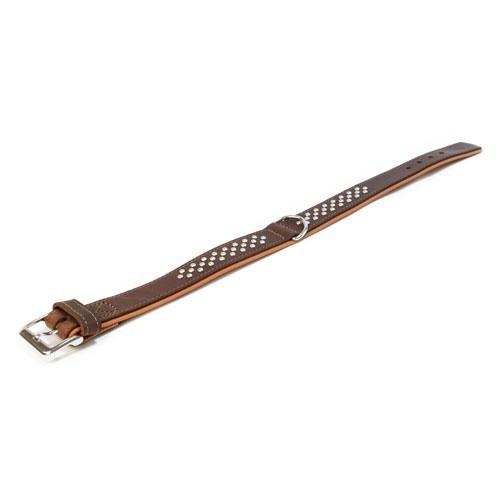 Collar de cuero con tachuelas Wondermals Navajo marrón