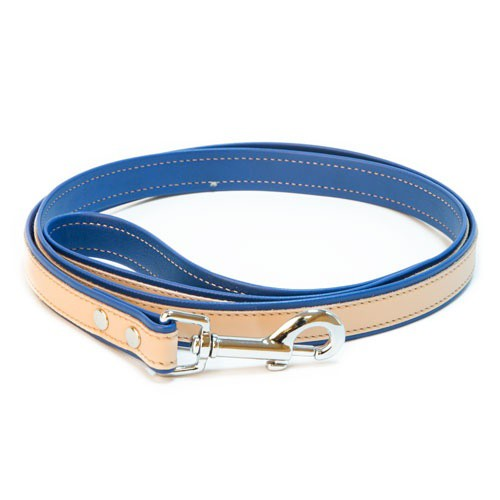Correa de cuero TK-Pet Luxe bicolor azul