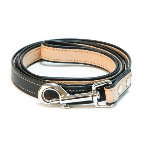 Correa de cuero TK-Pet Luxe bicolor negro