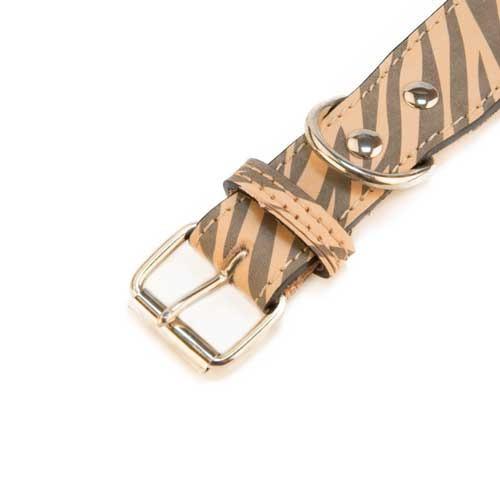 Collar de piel para perros TK-Pet Zebra