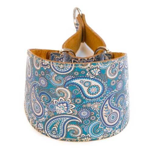 Collar de piel para galgo TK-Pet Paisley azul