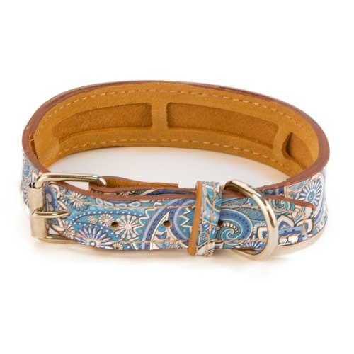 Collar de piel TK-Pet Paisley azul
