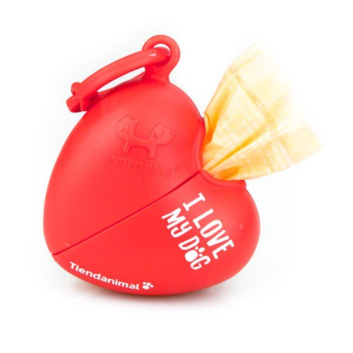 Dispensador de bolsas de corazón Tiendanimal rojo