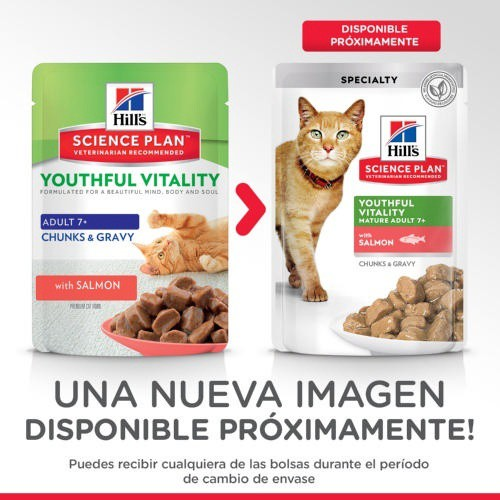 Hill's Youthful Vitality 7  húmedo para gatos con salmón