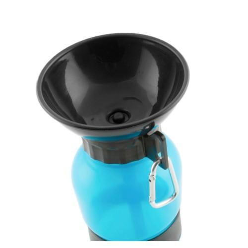 Botella de agua con bebedero portátil para perros