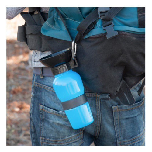 Water bottle with portable dog drinker