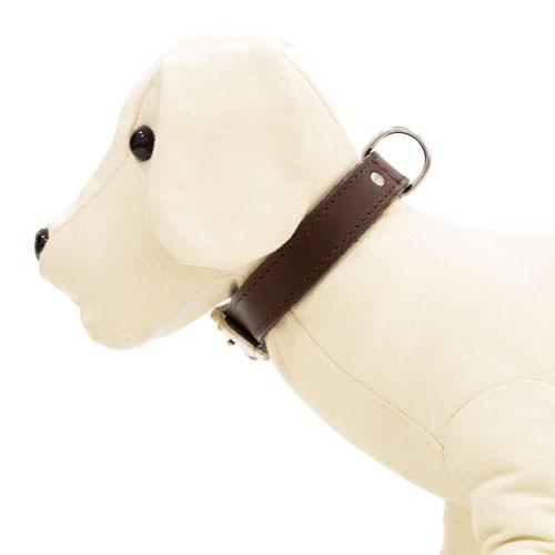 Collar de cuero para perros Namur marrón