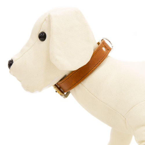 Collar de cuero para perros Namur cognac