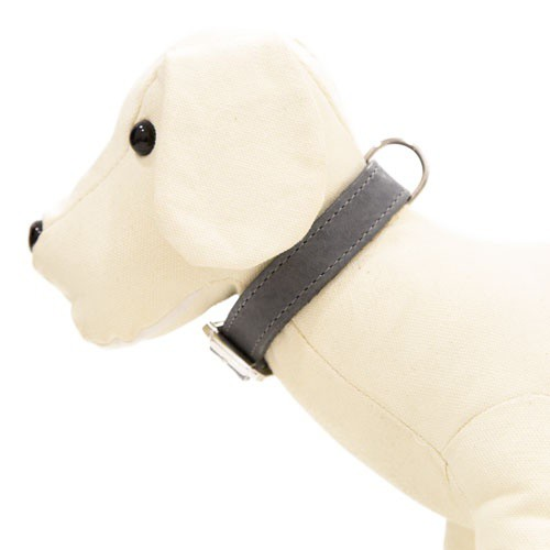 Collar de cuero para perros Namur gris