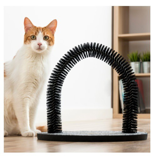 Rascador con arco masajeador para gatos