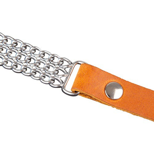 Collar de cuero y metal para perros Arlon cognac