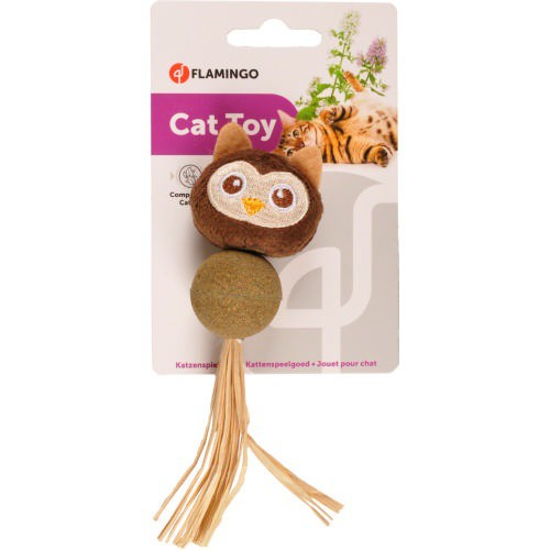 Búho con catnip prensado para gatos