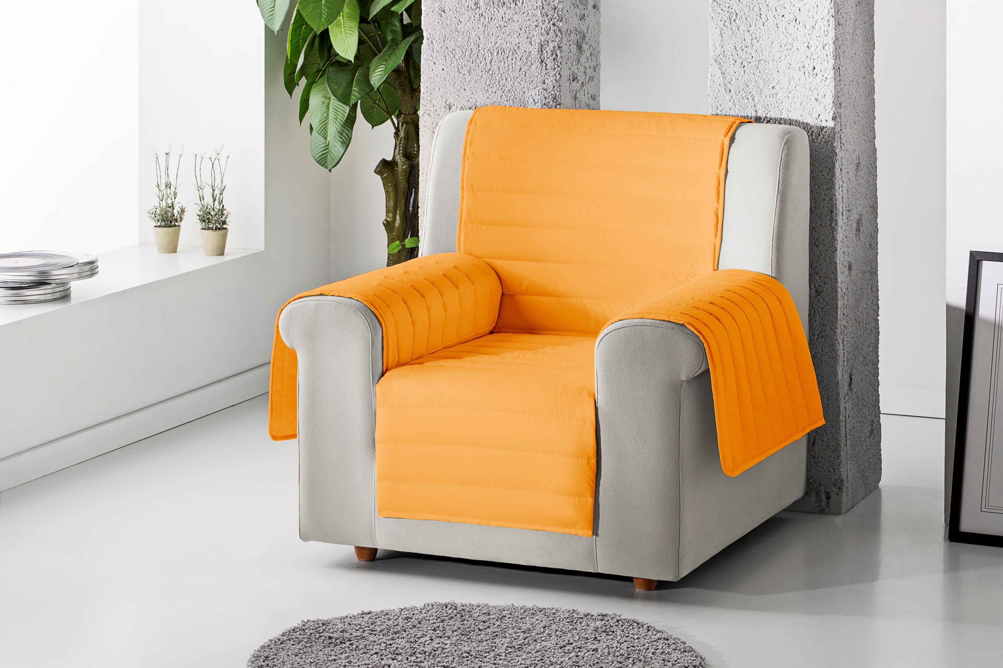 Cubre sillón acolchado reversible color Naranja