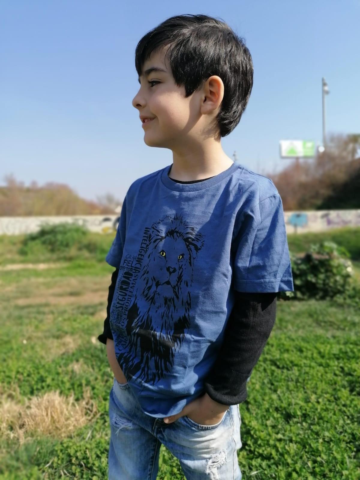 Camiseta niño/a león color Verde
