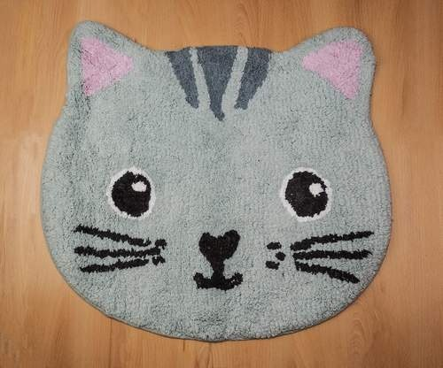 Alfombra en forma de gato Soy muy cuqui color Gris