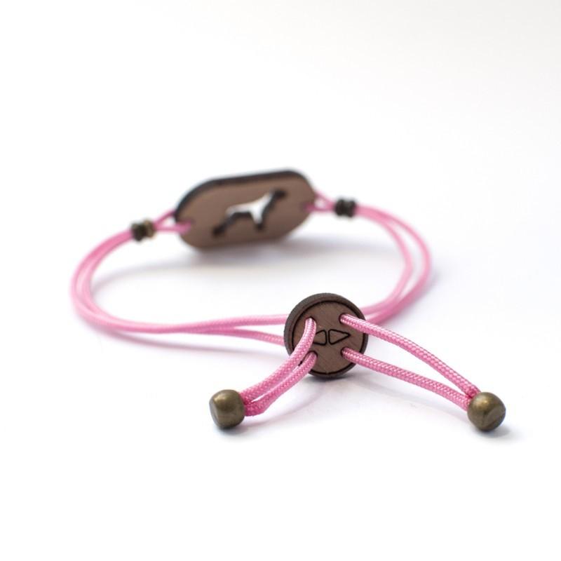 Pulsera de madera Border Collie personalizable color Rosa