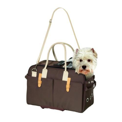 Bolso transportin marron para perros y gatos