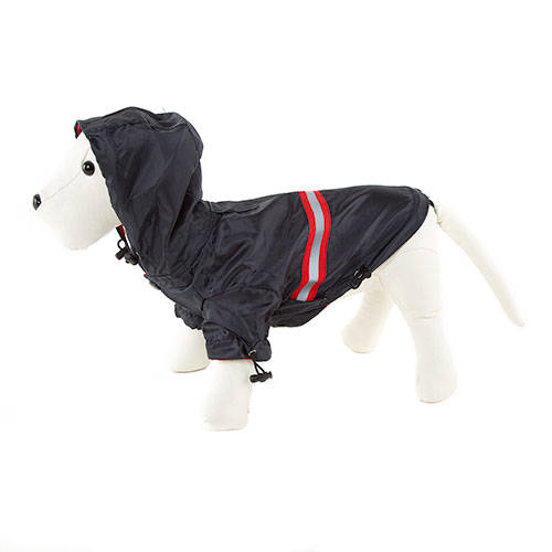 Navy blue reflecting raincoat for dogs