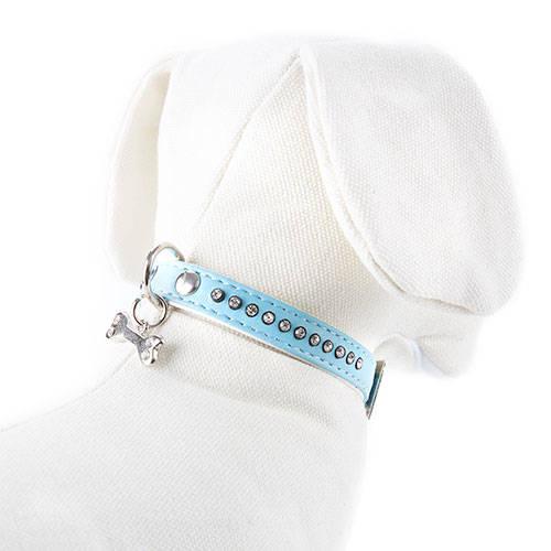 Collar polipiel azul con strass brillantes para perros elegantes