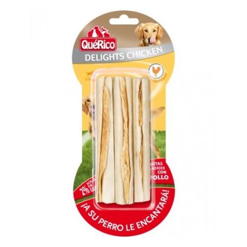 QuéRico Delights Snack para perros Barritas de piel con pollo