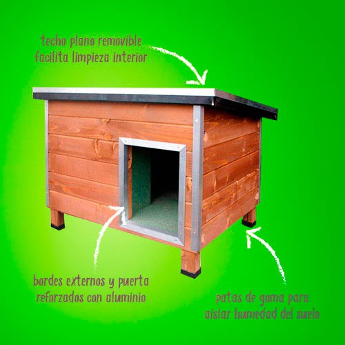 Caseta robusta de madera para perros Nevada Amarilla
